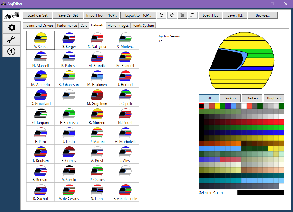 Helmets tab screenshot